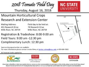 Cover photo for August 16, 2018 Tomato Field Day-Mountain Horticultural Crops Research and Extension Center