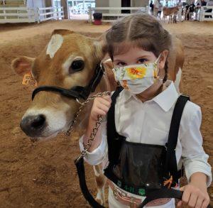 Macie Cowan with her dairy steer