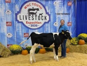 Ivory Eatmon poses with her dairy steer at the WNC Livestock Expo