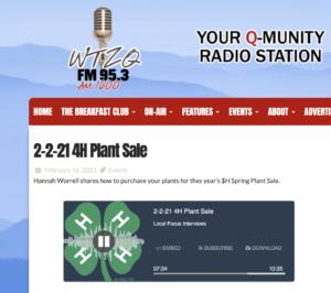 4-H Plant Sale Radio